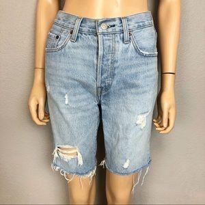 Levi's 501 Distressed Cutoff Denim Bermuda Shorts